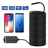 BlueFire Upgraded Super Long Wireless Endoscope IP68 Waterproof 1080P Semi-rigid Inspection Camera 2 MP HD WiFi Borescope Snake Camera Pipe Camera with Zoomable Picture and 1800mAh Battery for Android and iOS Smartphone, iPad, Tablet (49.2FT)