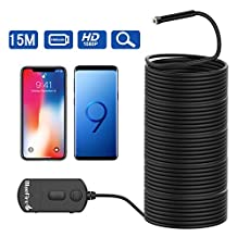 BlueFire Upgraded Super Long Wireless Endoscope 1080P Semi-rigid Inspection Camera 2 MP HD WiFi Borescope Snake Camera Pipe Camera with Zoomable Picture and 1800mAh Battery for Android and iOS Smartphone, iPad, Tablet (49.2FT)
