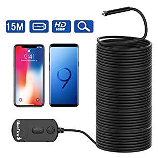 BlueFire Upgraded Super Long 1080P Semi-Rigid Inspection Camera 2 MP HD WiFi Borescope Wireless Endoscope with Zoomable Focus and 1800mAh Battery for Android and iOS Smartphone, Tablet (49.2FT)