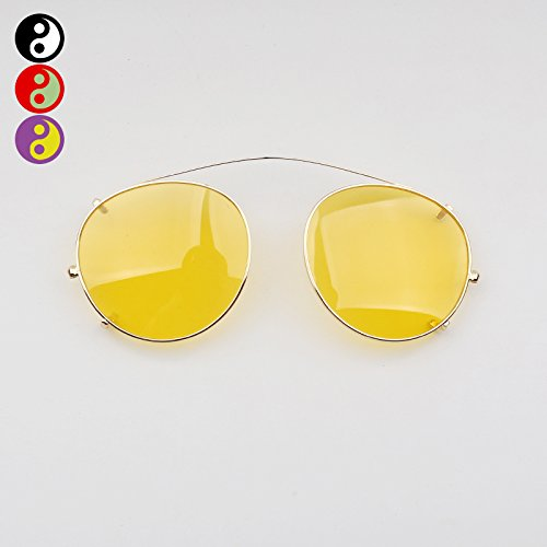 Yellow VVIIYJ Four-Claw Buckle Round Frame Myopia Sunglasses Clip Female Reflective Clip Sunglasses Men