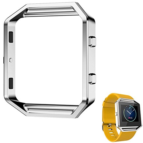 Creazy Stainless Steel Metal Watch Frame Holder Shell For Fitbit Blaze Smart Watch - Blaze Silver X