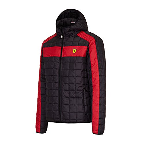 Ferrari Black Hooded Padded Packable Jacket with Ferrari Scudetto on Chest. - Men Ferrari Jacket For