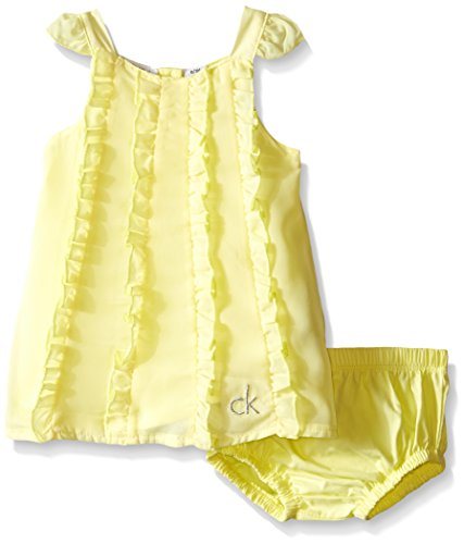 Calvin Klein Baby Girls' Chiffon Overlay and Panty, Yellow, 12 Months (Chiffon Overlay Dress)