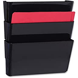 Recycled Wall File, Three Pocket, Plastic, Black, Sold as 3 Each