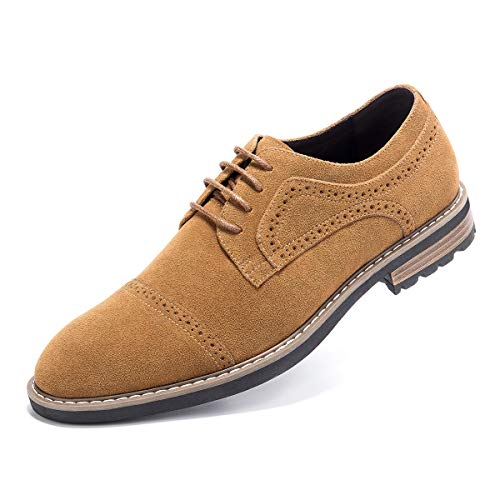 Men's Suede Leather Oxford Shoes Casual Lace up Dress Shoes Camel ()