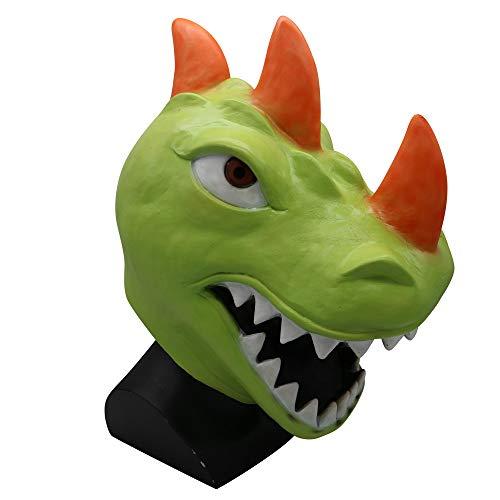 callm Mask Toy,Cosplay Funny Tomatohead/REX Dinosaur/Durr Burger Mask Melting Face Latex Costume Halloween Game Mask Toy (REX Dinosaur) -