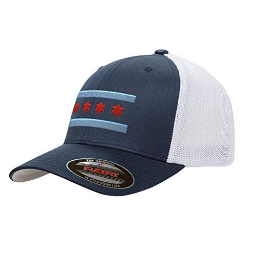Chicago Flag Mesh Snapback Premium Yupoong Adult Retro Trucker Cap Hat 6606 (Navy/White)