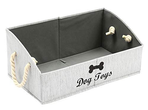 Morezi Canvas Pet Toy and Accessory Storage Bin, Basket Chest Organizer – Perfect for Organizing Pet Toys, Blankets, Leashes and Food – Grey – Rectangle – Dog