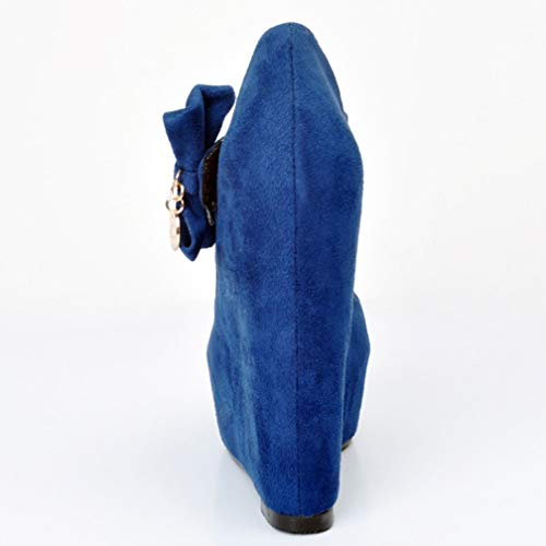 Scarpe Mary Signore Pompe Blu Tonaca Sposa Promenade Wadge Alti Del Partito Artigianale Jane Stile Di Tallone Camoscio Di 0BXwB