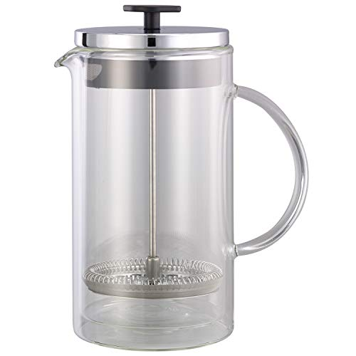 - Service Ideas T899SR Double Wall Coffee Press, Glass, Chrome, 33.8 oz.