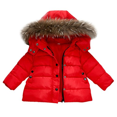 NEARTIME Kids Coat, New Christmas Lovely Cute Baby Girls Boys Down Jacket Outwear Autumn Winter Warm Children Clothes (Red, 2T-3T)