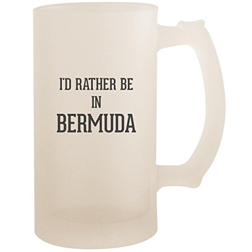 Bermuda Mug - I'd Rather Be In BERMUDA - 16oz Glass Frosted Beer Stein Mug, Frosted