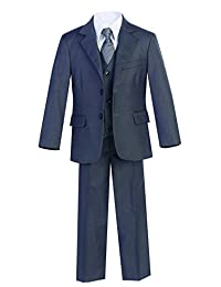 Magen Kids 5 Pc Boys Formal Charcoal Suit,Vest,Pant,Dress Shirt,Tie Set S 2-18