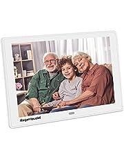 Marco fotográfico Digital RegeMoudal Pantalla panorámica de 12 Pulgadas álbum de Fotos USB Reproductor de Video MP3 MP4 con Control Remoto para su Familia Amigos Blanco.