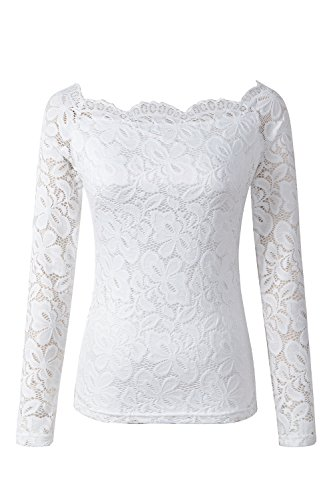 Long Sleeve Boatneck Top (VERLINA Women's Long Sleeve Top with Boat-Neck| Off Shoulder Floral Lace Design in White - Medium)