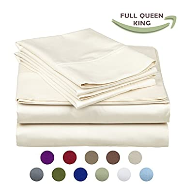 High Strength Natural Bamboo Fiber Yarns Egyptian Comfort 1800 Thread Count 4 Piece QUEEN Size Sheet Set, IVORY Color