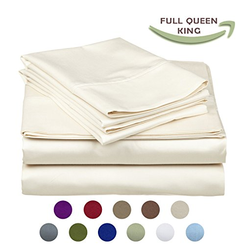 l Bamboo Fiber Yarns Egyptian Comfort 1800 Thread Count 4 Piece QUEEN Size Sheet Set, IVORY Color ()