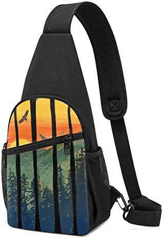 ボディ肩掛け 斜め掛け 夕焼け ショルダーバッグ ワンショルダーバッグ メンズ 軽量 大容量 多機能レジャーバックパック