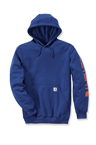 Sleeve K288 Superior Sweatshirt Carhartt Hooded Midweight Blue Signature Logo Men's a80x18