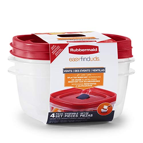 Rubbermaid Easy Find Lids 5-Cup Food Storage and Organization Containers and Lids, 2-Pack, Racer Red,