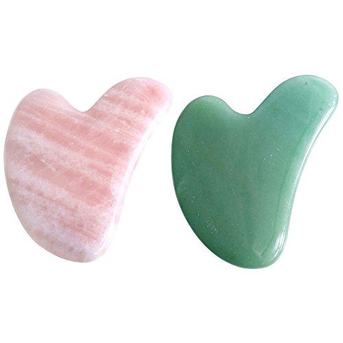 アイデア叫ぶストレス2点セット2pcsFace / Body Massage rose quartz/ Adventurine heart shape Gua Sha 心臓の/ハート形状かっさプレート 天然石ローズクォーツ 翡翠,顔?ボディのリンパマッサージ