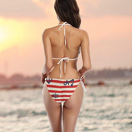 Alaza Vintage Deux Maillot Red Bain Anchor Femme Pièces Multicolore Bikini De Stripe ArAqI