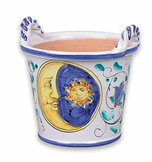 Handmade Two Handle Sun and Moon Pot From Italy by Terrazza