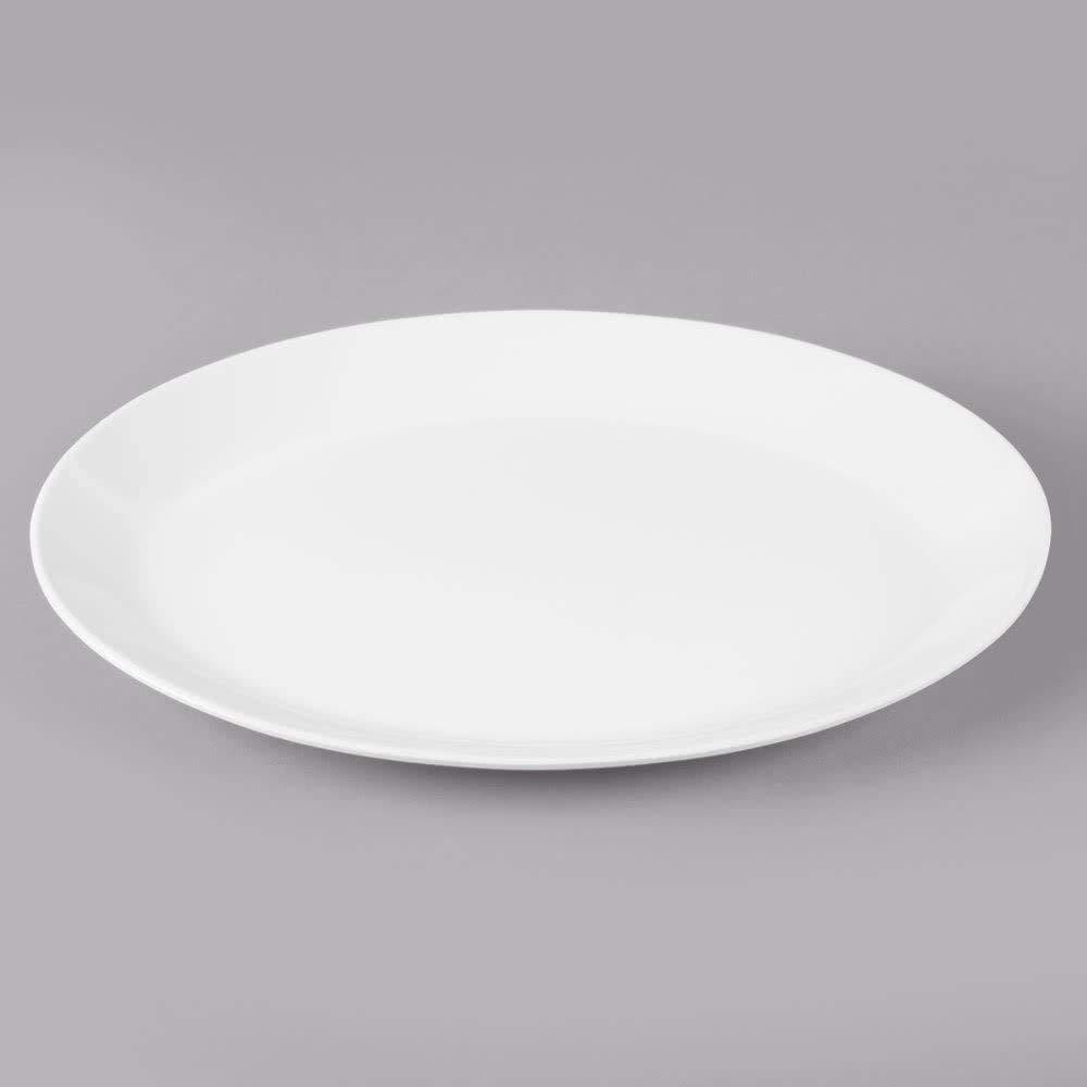 G.E.T. Enterprises White 10 Oval Coupe Serving Platter Melamine Plastic, Settlement Collection OP-1080-AW (Pack of 12)