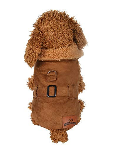 MAZORT Dog Cold Weather Jacket Faux Suede Sherpa Lined Fur Trim Winter Coat for Small Dog Brown XS