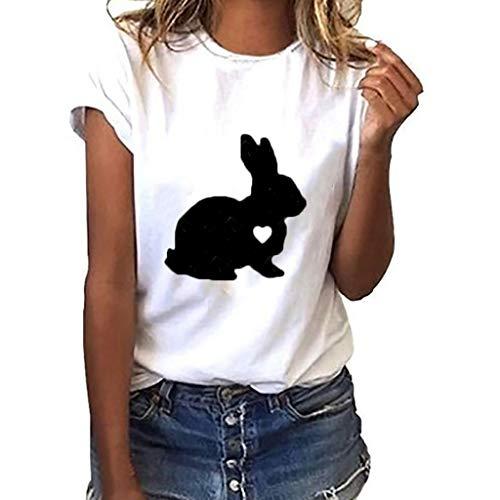 Dressin Women Plus Size Rabbit Print Short Sleeve T-Shirt Tops Fashion Womens Summer Casual Blouse Top Shirts White