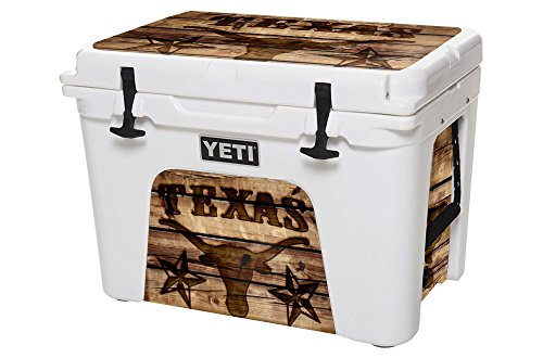 USATuff Wrap (Cooler Not Included) - Lid and Insert Kit Fits YETI 35qt Tundra - Protective Custom Vinyl Decal - Texas Longhorn Wood