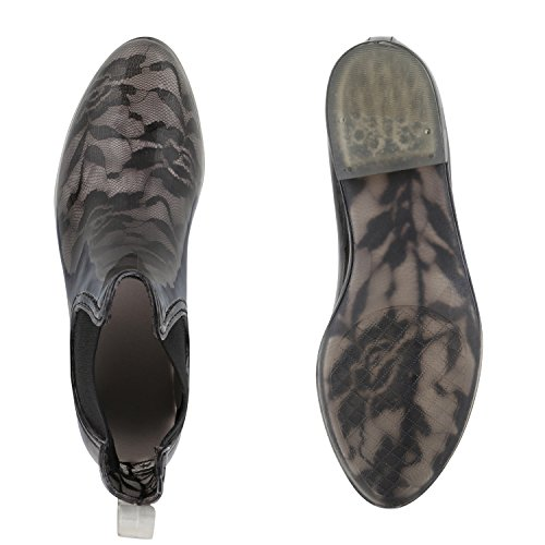 Stiefelparadies - Botas plisadas Mujer Schwarz Spitze