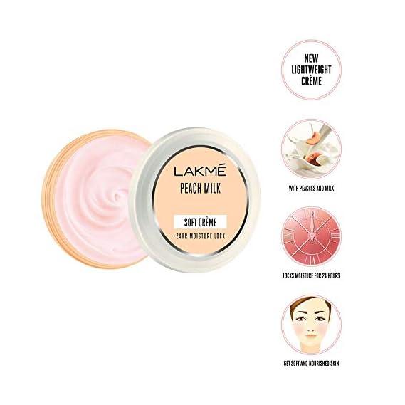 Lakme Soft Creme Moisturizer, Peach Milk, 150g