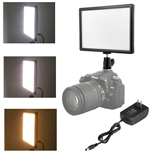 Kamisafe T1688 RA CRI95 Super Slim LED Light Panel, 3200K-6200K LED Video Light, LCD Disply Screen with Hot Shoe Ball Mount, Power Adapter, Color Temperature & Brightness Can be Adjusted by Kamisafe