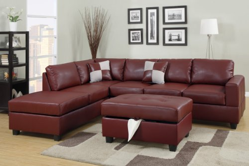 Poundex F7390 Burgundy Bonded Leather Living Room Sectional Sofa