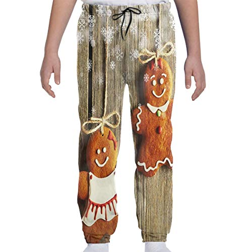 DHIAJSA Youth 3D Christmas Homemade Gingerbread Couple Cookies Joggers Pants Trousers Sport Track Sweatpants Baggy ()