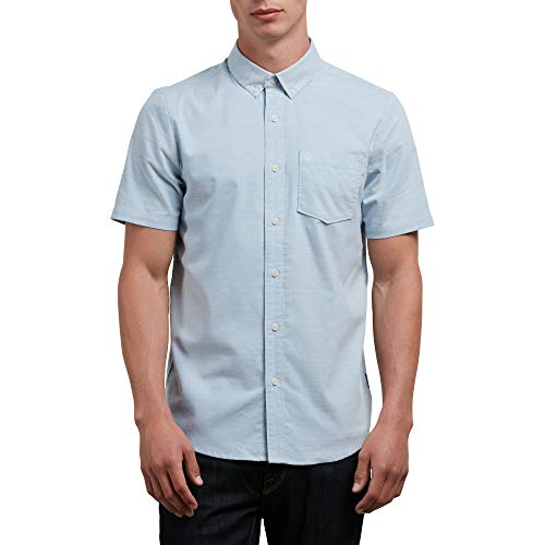 (Volcom Men's Everett Oxford Short Sleeve Shirt, wrecked indigo, L)