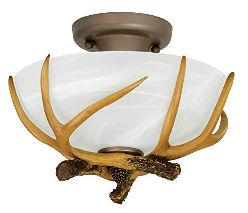 Semi Flush 2 Light Fixtures with European Bronze Finish Steel/Resin Material Medium 12
