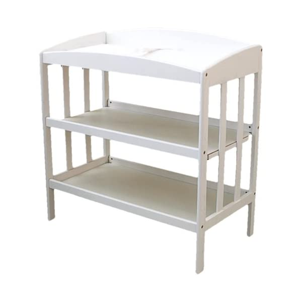 LA Baby 3 Shelf Wooden Changing Table, White (Discontinued by Manufacturer)