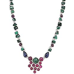 61 5/7 Ct Emerald, Ruby and Sapphire Sterling Silver Handmade Necklace Jewelry