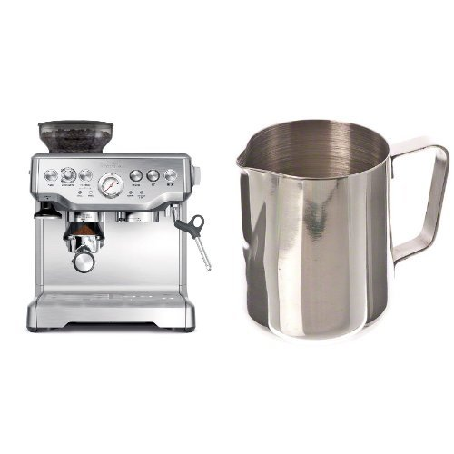 Breville BES870XL Barista Express Espresso Machine and Update International (EP-12) 12 Oz Stainless Steel Frothing Pitcher Bundle by Breville