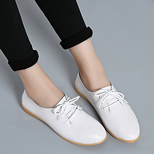 Panda Kelly Causal Shoes Flat Laces Slip On Leather Loafers Shoes For Women White SIgOGSh