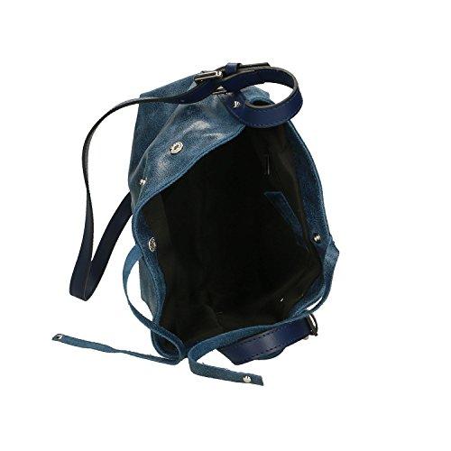 Bolso Chicca Pequeño Mujer En De Piel Fabricado Cm Azul Italia Genuina Clutch 29x20x13 Borse BRqxfAT