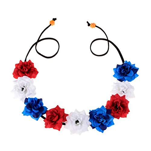 Floral Fall 4th of July Festival Flower Crown Patriotic Headbands Headpieces F-58 (A-Red White Blue) ()