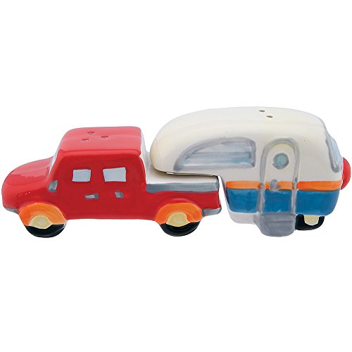 Collectible RV Truck And Camper Handpainted Ceramic Salt &