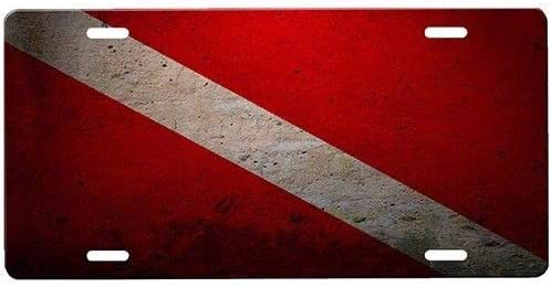 Dive Flag Metal License Plates Signs for Car Decoration 12 Inch X 6 Inch