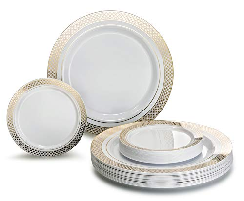 """ OCCASIONS"" 50 Pack, Premium Disposable Plastic plates (25 x 10.5'' Dinner + 25 x 6'' Cake plates) Celebration White/Gold"