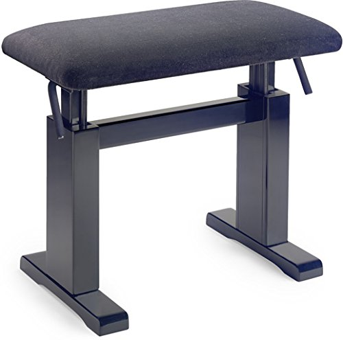 Stagg PBH780 Hydraulic Piano Bench with Black Velvet Top - Black Matte by Stagg