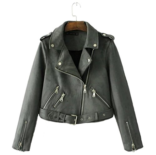 YunPeng Women's Faux Suede Leather Zipper Motorcycle Locomotive Jacket - Motorcycles For Sale Wooden