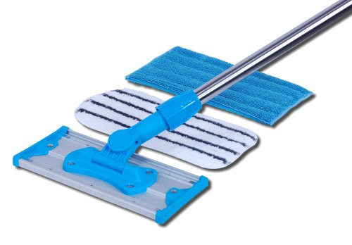 Mini Microfiber Mop | Perfect for Small Spaces, Restrooms, Walls, Ceilings | Wet Mop for General Cleaning, Scrubber Mop for Deeper Cleaning and Grout ()